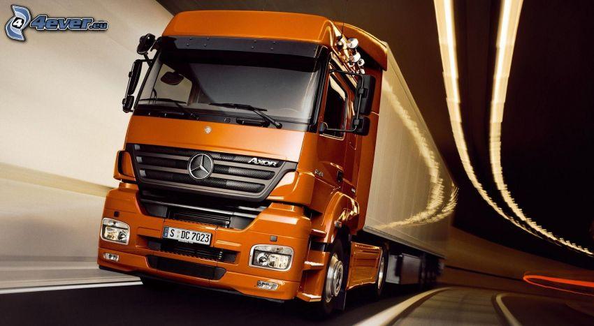 truck, Mercedes-Benz, speed, tunnel