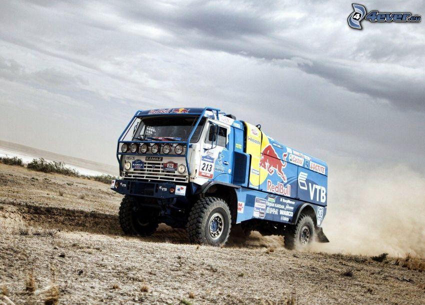 truck, Red Bull, dust