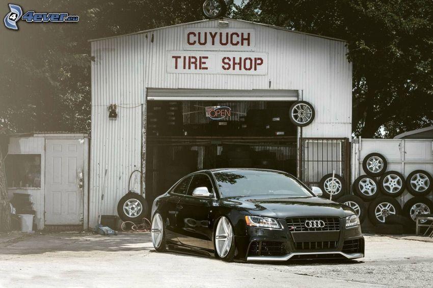 Audi S5, tuning, lowrider, shop, wheels