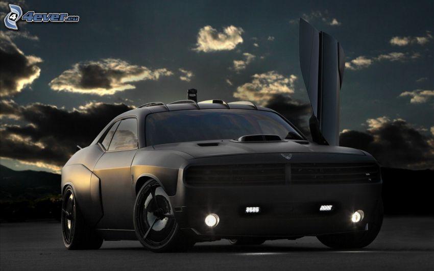 Dodge Challenger, door, darkness