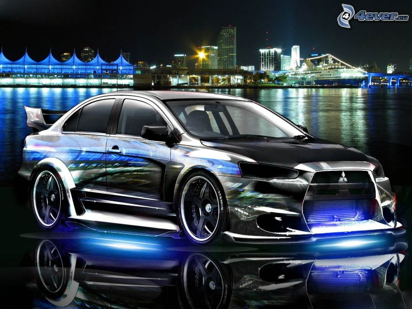 Mitsubishi, neon, tuning, night city