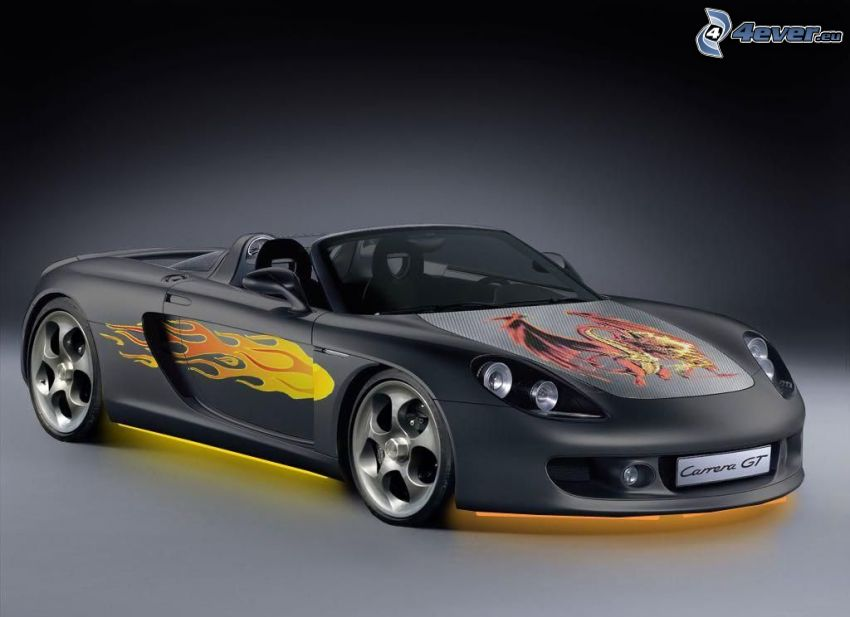 Porsche Carrera, convertible, cartoon dragon, flame, illumination