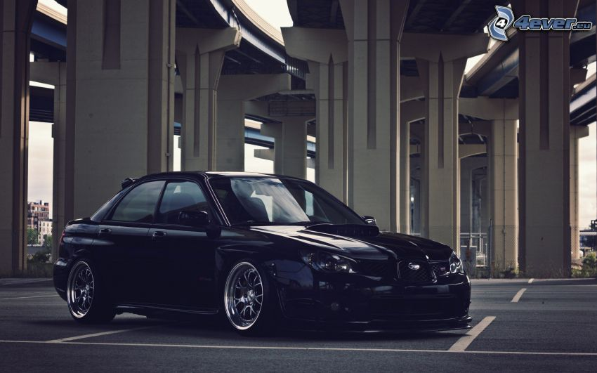 Subaru Impreza WRX STi, tuning, car park, under the bridge