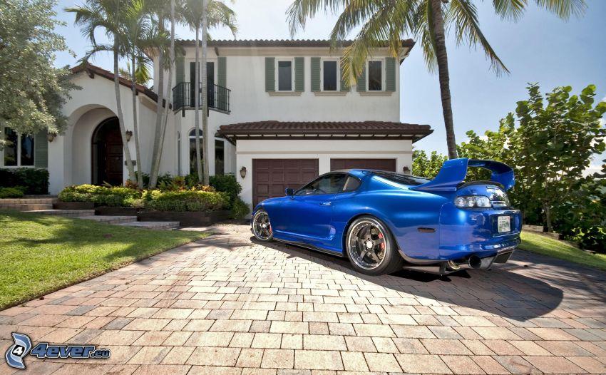 Toyota Supra, pavement, house, palm trees