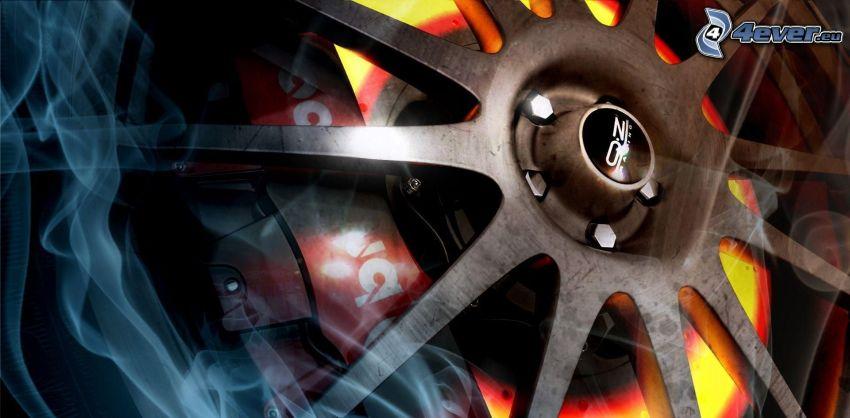 wheel, smoke