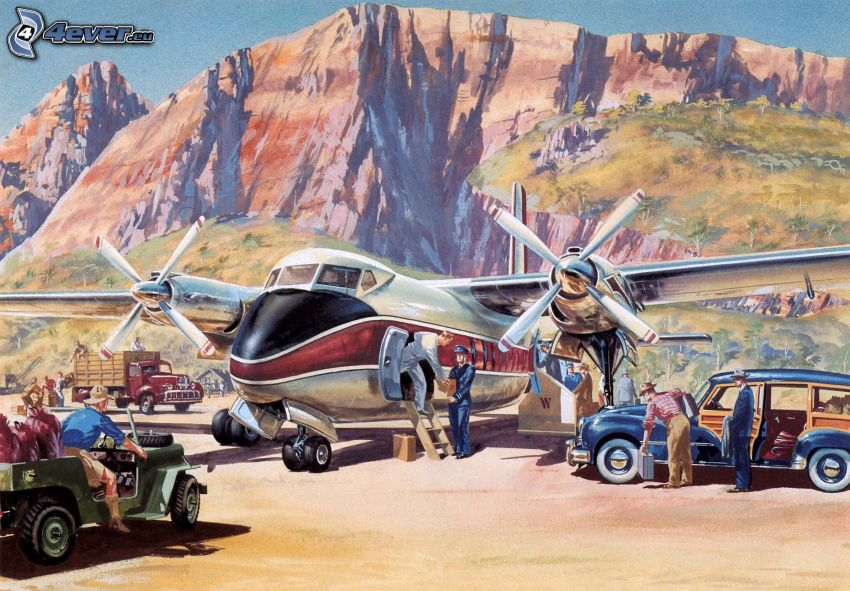 aircraft, cars, people, rocky hill