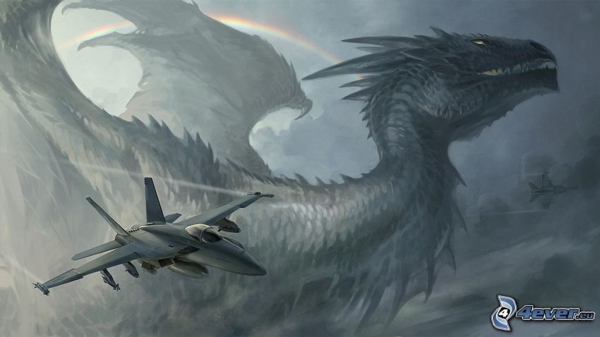 aircraft, cartoon dragon, rainbow