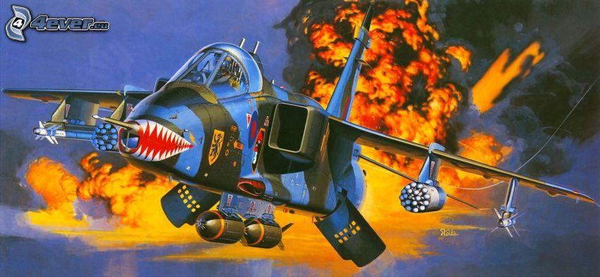 aircraft, flames