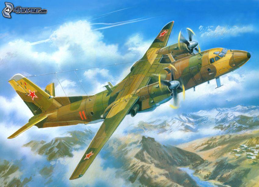 aircraft, rocky hills