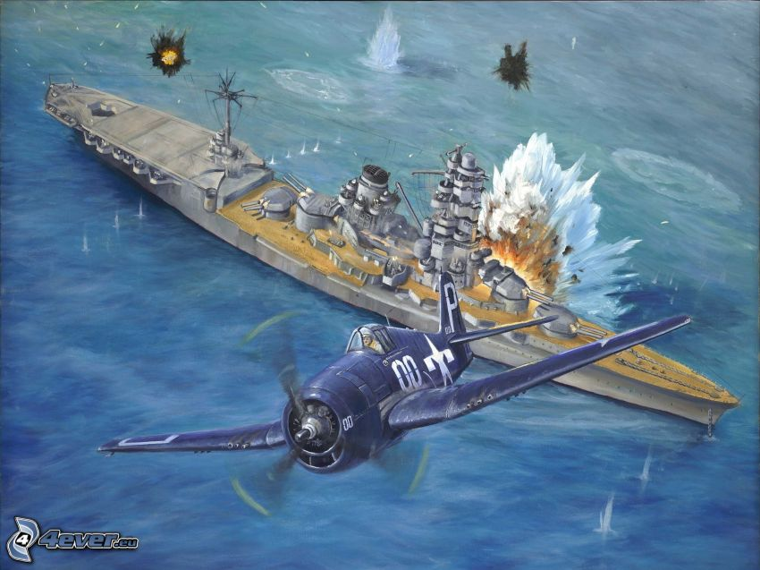 aircraft, ship, explosion