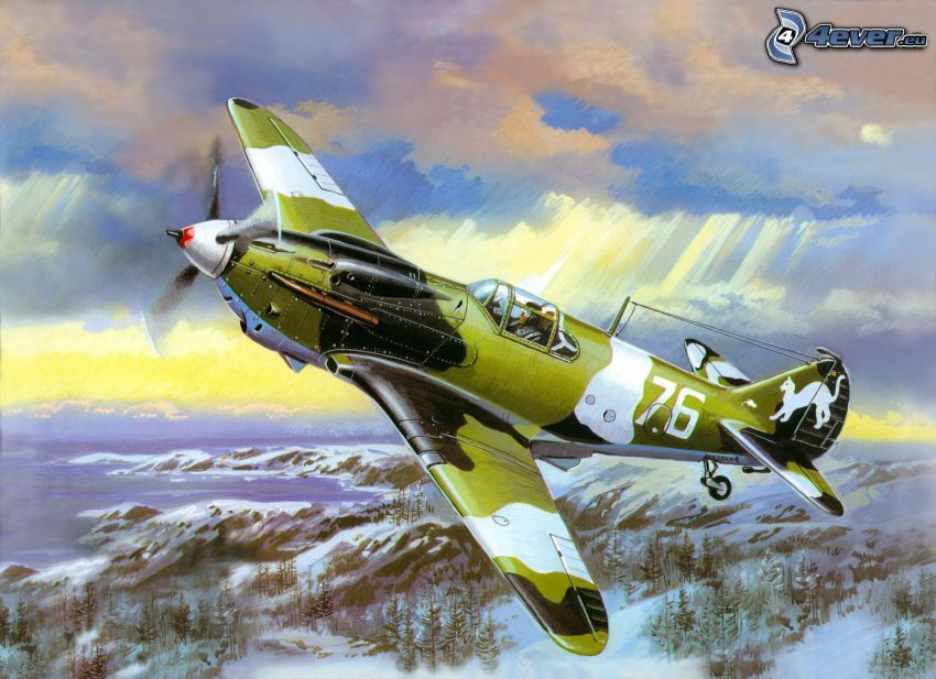 aircraft, snowy landscape