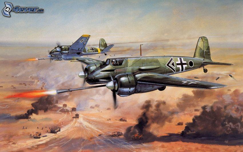 airplanes, shooting, World War II