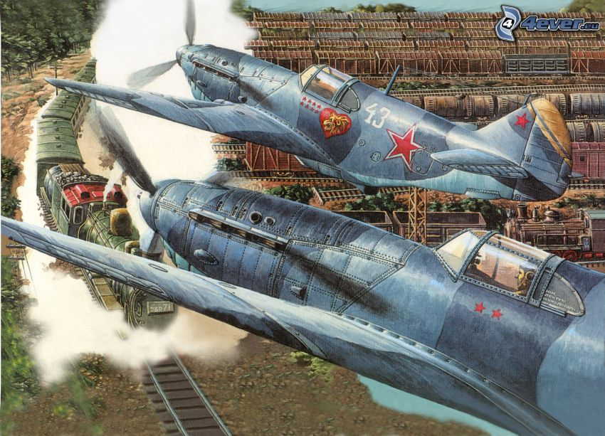 airplanes, steam train, World War II