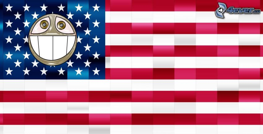 american flag, smiley