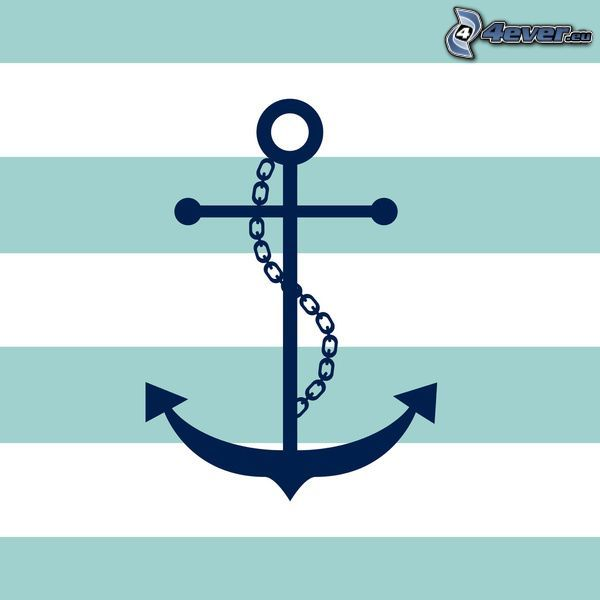 anchor, blue stripes