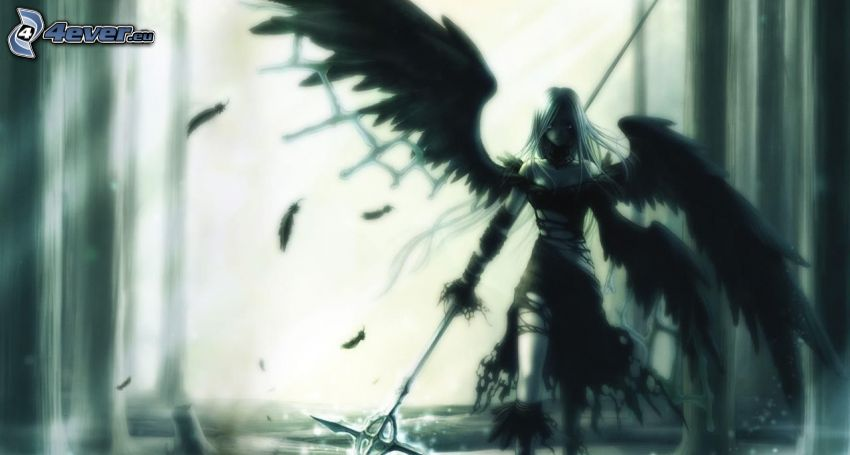 angel, black wings