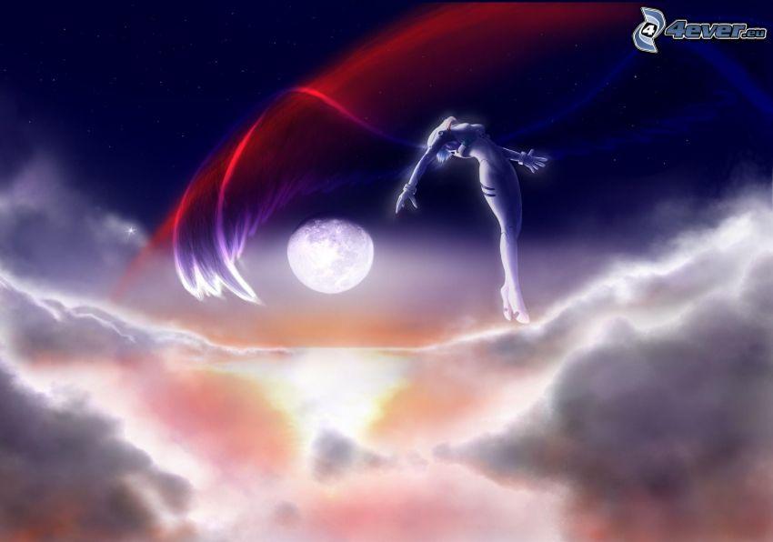 angel, clouds, Moon