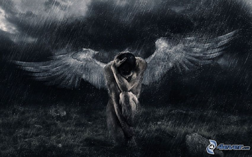angel, rain, darkness