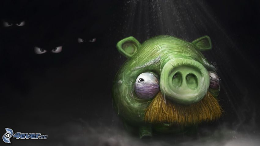 Angry birds, pig, fear, eyes, darkness