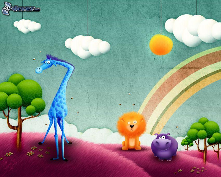 animals, giraffe, lion, rhino, rainbow, sun, clouds
