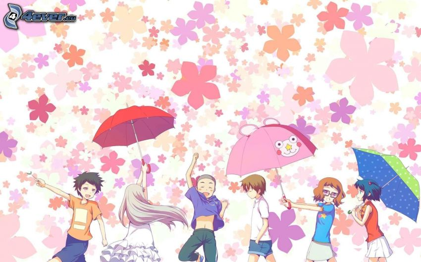 anime characters, umbrellas, cartoon flowers