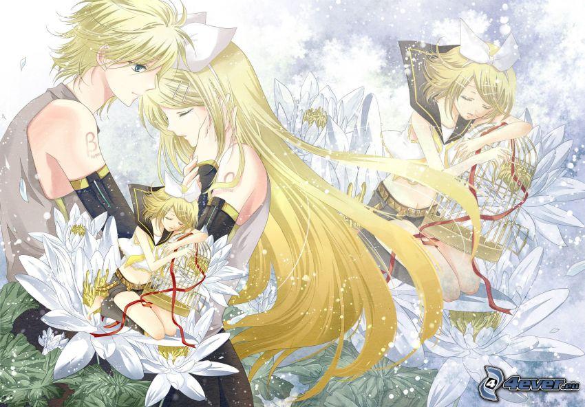 anime couple, flowers