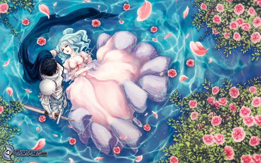 anime couple, lake, pink roses