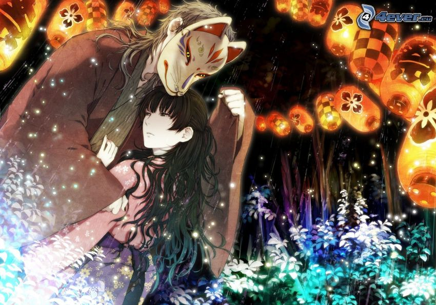 anime couple, mask, lantern