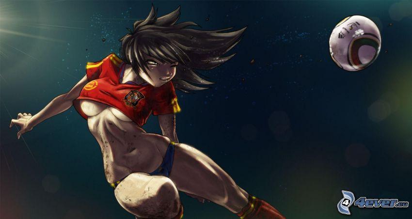 anime girl, ball, jump