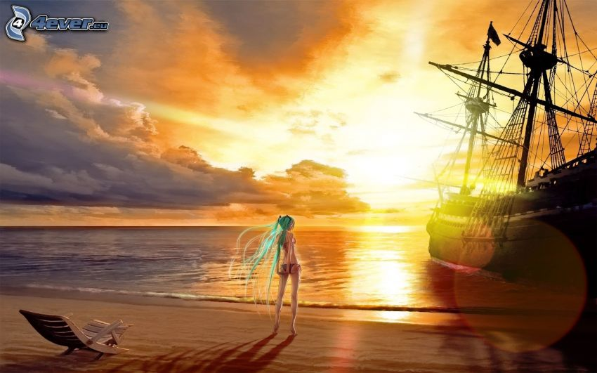 anime girl, beach, sailing boat, ship, sunset over the sea