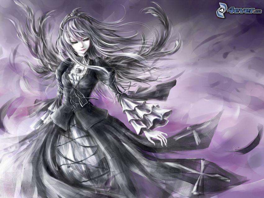 anime girl, black dress