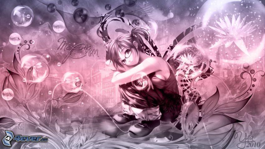 anime girl, bubbles, cartoon flowers