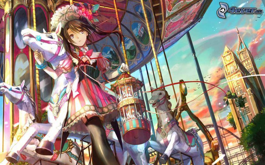 anime girl, carousel