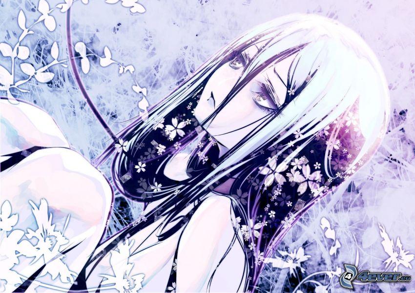 anime girl, cartoon flowers