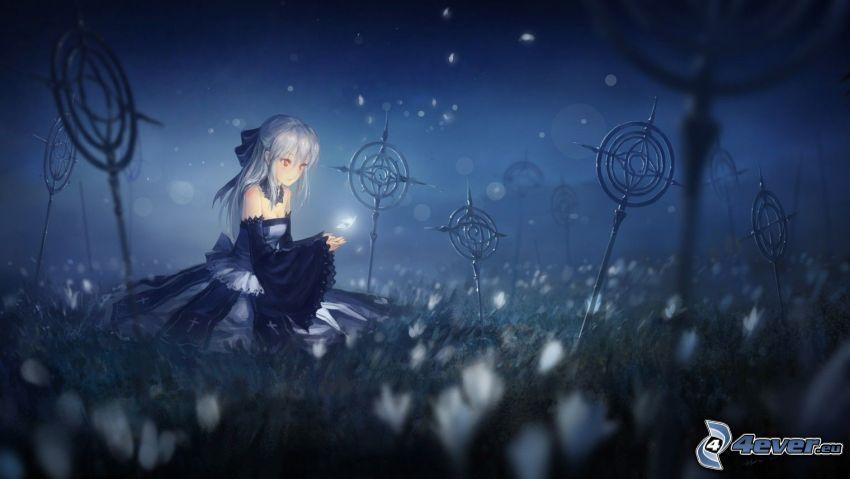 anime girl, cemetery