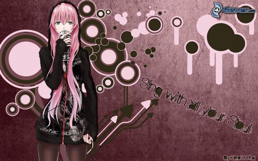 anime girl, circles