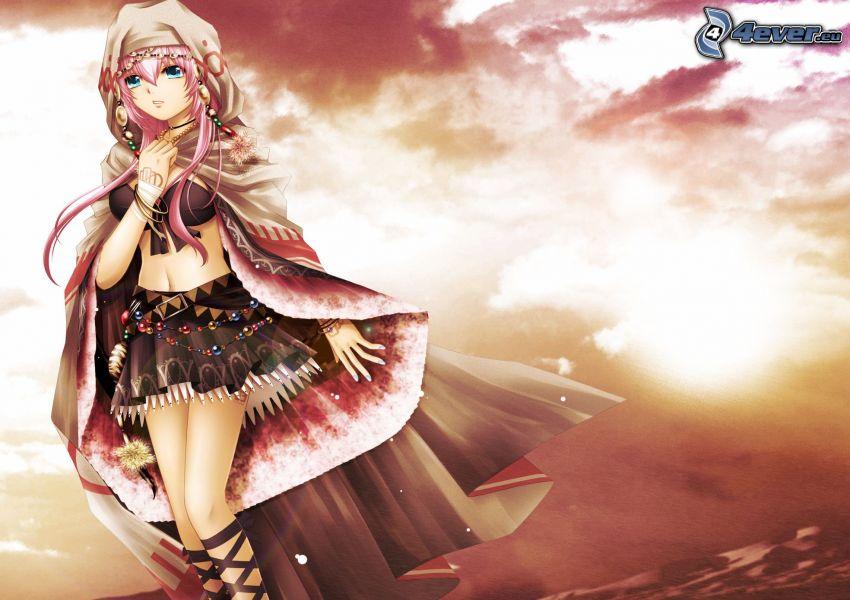 anime girl, cloak