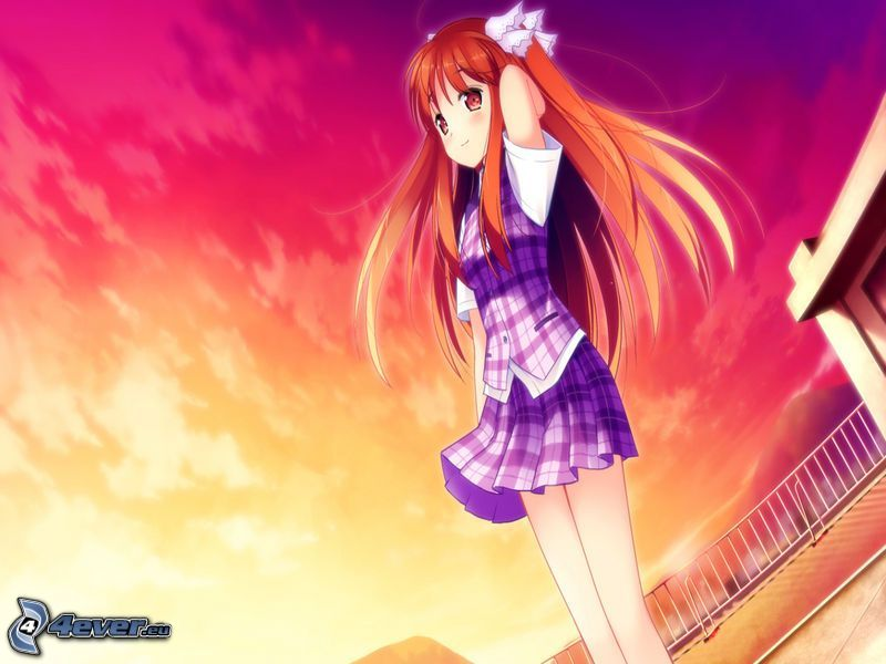 anime girl, colorful sky