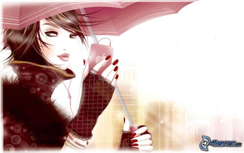 anime girl, girl with umbrella, phone