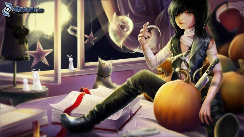 anime girl, gray cat, book, pumpkins