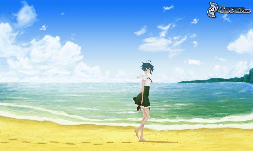 anime girl, sandy beach, sea