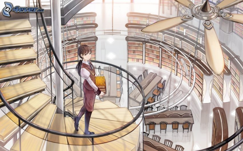 anime girl, stairs, library