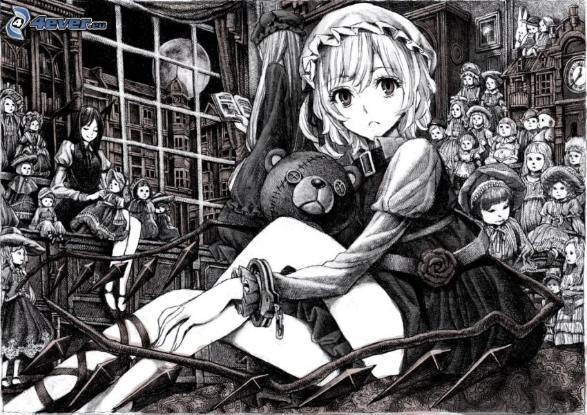 anime girl, teddy bear, black and white