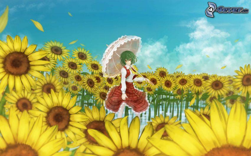 anime girl, umbrella, sunflowers