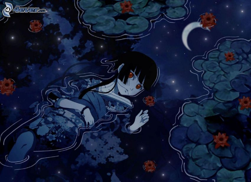 anime girl, water, water lilies, moon, reflection