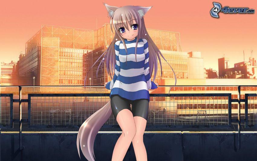 anime girl on railing