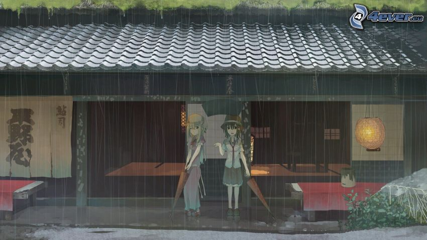 anime girls, rain