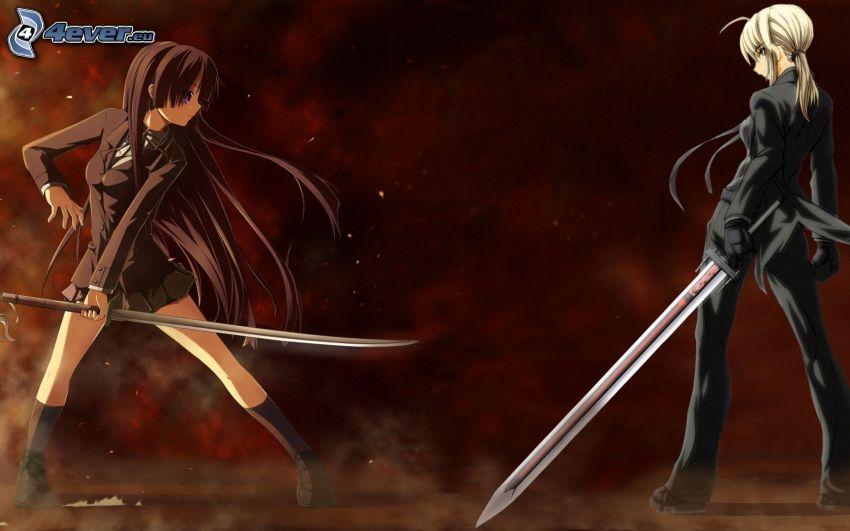 anime girls, swords, fight