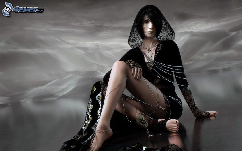 anime woman, dark woman