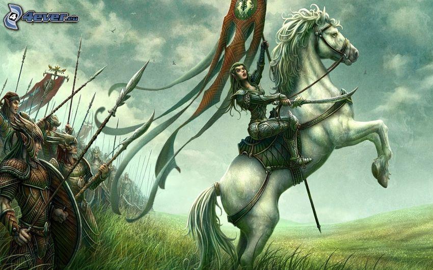 cartoon elf, white horse